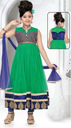Stylish Rama Green Net Readymade Kids Anarkali Suit DT50542