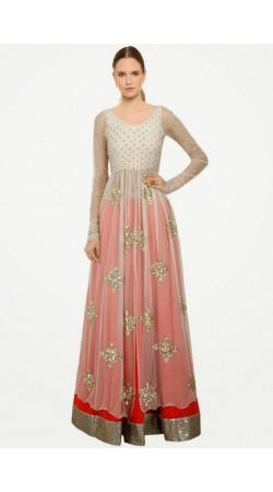 Stylish Red And White Net Long Choli Lehnega SUUDL7514