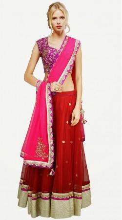 Stylish Red Banarasi Net And Tissue Designer Lehenga Choli SUUDL3713