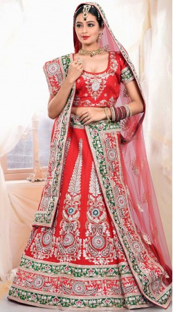 Stylish Red Raw Silk Bridal Lehenga Choli With Matching Dupatta ZP0405