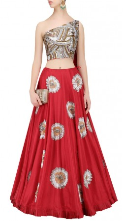 Stylish Red Silk Designer Floral Work Skirt With One Side Sleeves Choli SUUDL21819