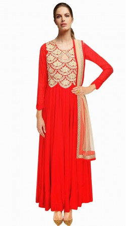 Stylish Red Silk Embroidered Party Wear Salwar Kameez SUMA2209