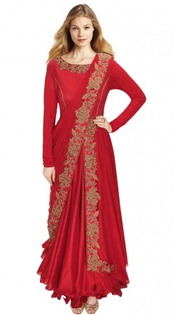 Stylish Red Silk Resham Embroidered Saree Style Gown SUUDS29604