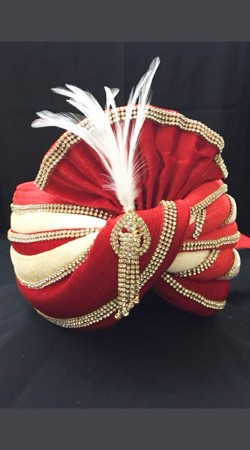 Stylish Red Velvet Stone Work Wedding Turban For Groom DTT535