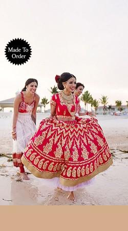 Stylish Resham Work Red Premium Fabric Replica Designer Lehenga Choli BP1003