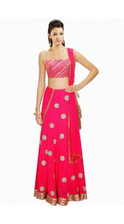 Stylish Ruby Crepe And Georgette Wedding Lehenga Choli SUUDL4314