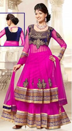 Stylish Ruby Net Long Choli Lehenga With Matching Dupatta DT90739