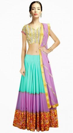 Stylish Sky Blue Georgette Navratri Chaniya Choli With Dupatta SUUDL3113