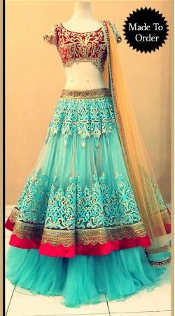 Stylish Sky Blue Net Replica Wedding Lehenga Choli With Dupatta SMDS0MM