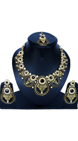 Stylish Stone Work Necklace Set With Maang Tika NNP86908