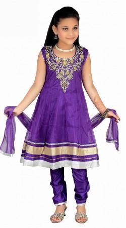 Stylish Stone Work Purple Net Readymade Kids Salwar Kameez DT0840