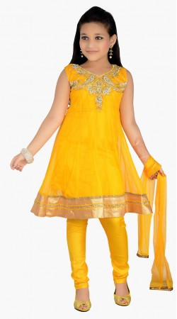 Stylish Stone Work Yellow Net Readymade Kids Salwar Kameez DT1140