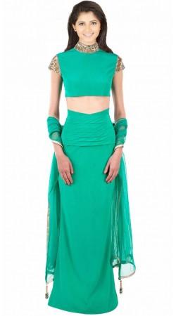 Stylish Turquoise Crepe And Net Designer Partywear Lehenga Choli SUUDL8914