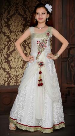 Stylish White Brasso Net Designer Readymade Kids Gown DT301641