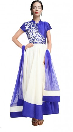 Stylish White Chanderi Silk Ankle Length Anarkali Suit SUUDS17702