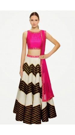 Stylish White Silk And Net Wedding Lehenga Choli SUUDL5014