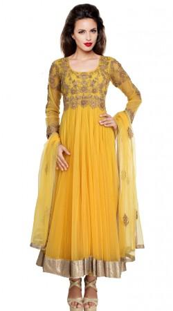 Stylish Yellow Embroidered Net Exclusive Salwar Kameez SU20611