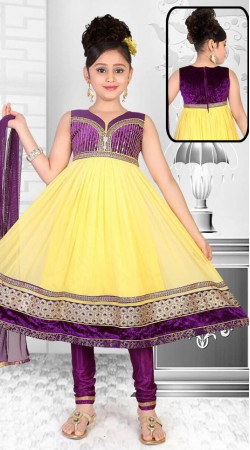 Stylish Yellow Net Designer Readymade Kids Suit With Dupatta DT301141