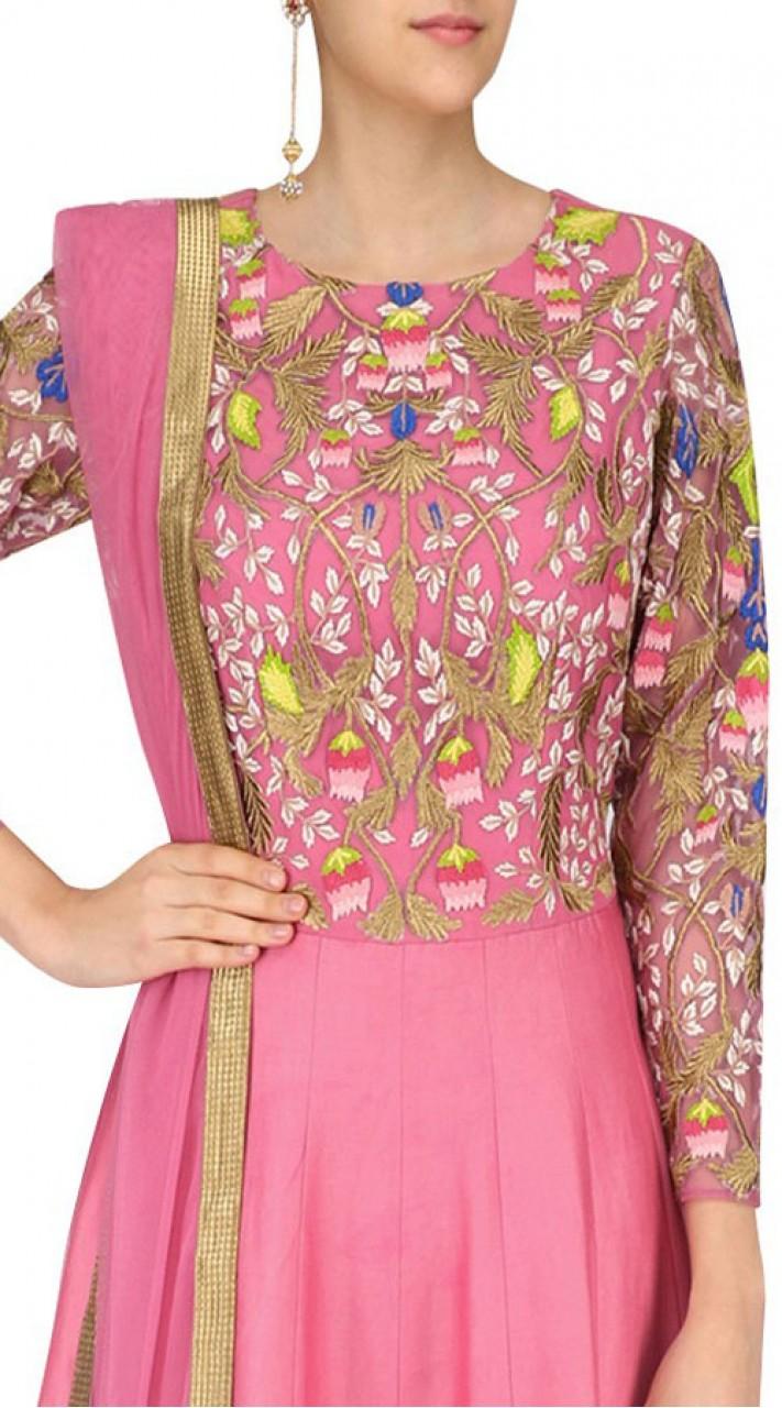 Pink Silk Anarkali Salwar Kameez With Embroidery Work