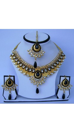 Superb Black And White Stone Work Golden Plated Necklace Set With Tika N61099