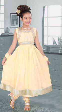 Superb Cream Net Kids Girl Anarkali Suit With Matching Dupatta DTK652