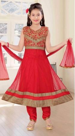 Superb Embroidered Red Net Kids Girl Long Anarkali Suit DT11148