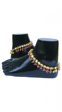 Superb Gold Zircon Base And Pink Moti Designer Payal N72098