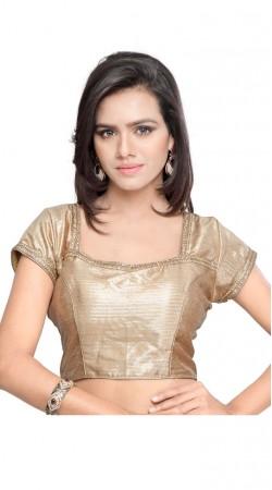 Superb Golden Art Silk Jacquard Designer Blouse For Saree BPMS1212