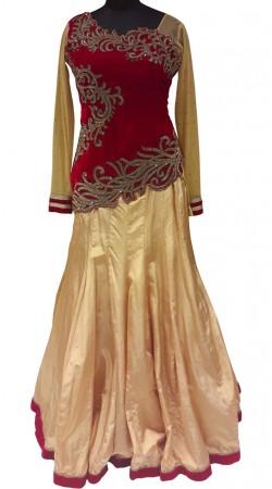 Superb Maroon Velvet Choli Golden Beige Silk Designer Lehenga LD000407