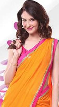 T.V Actress Saumya Tandon Mustard Anita Style Saree BP1430