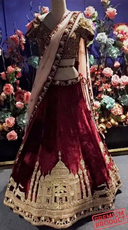 Taj Mahal Work On Maroon Exclusive Lehenga Choli SGR01649