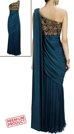 Teal Blue One Shoulder Saree Gown BP0646