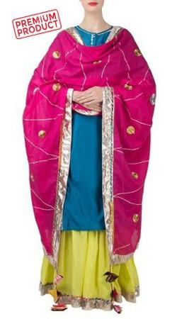 Teal Blue Sharara Set With Floral Work Dupatta BP0845