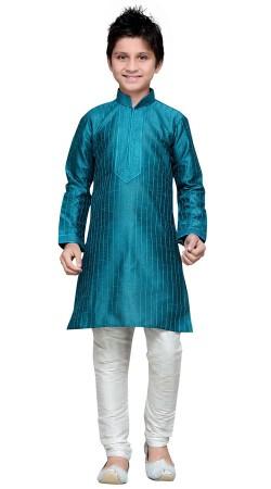 Teal Blue Thread Work Boy Kurta Pajama GR15212