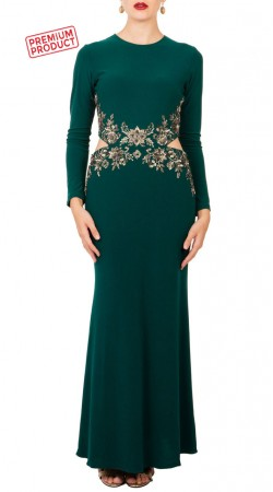 Teal Green Satin Designer Waist Cutout Gown BP4434