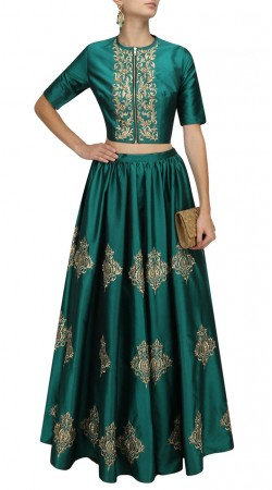 Teal Silk Embroidery Work Lehenga With Front Zip Choli SUUDL28827