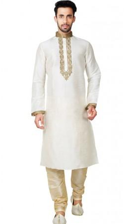 Thread Work Art Silk Off White Kurta Pajama GR151814