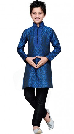 Thread Work Blue Brocade Kid Boy Kurta Pajama GR13610