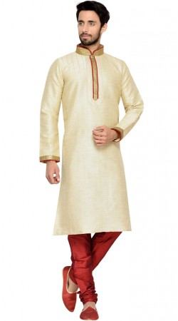 Thread Work Cream Jharna Silk Men Kurta Payjama GR145209
