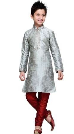 Thread Work Grey Art Silk Boy Kurta Pajama GR12310