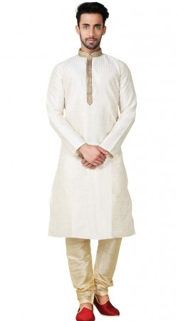 Thread Work Off White Art Silk Kurta Pajama GR151514
