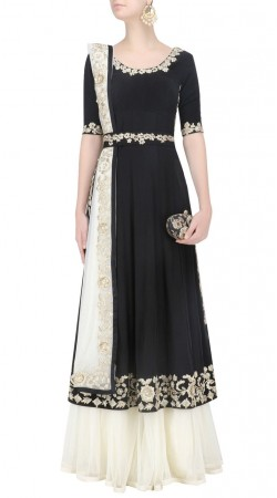 Timeless Beauty White And Black Georgette Designer Floral Work Sharara SUUDL21919