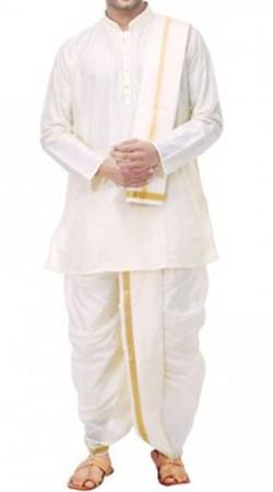 Traditional Cotton White Men Dhoti Kurta BP0638