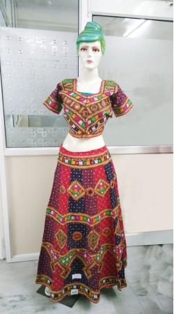 Traditional Mirror And Jaipuri Bandhej Work Navratri Lehenga Choli 2BR678458