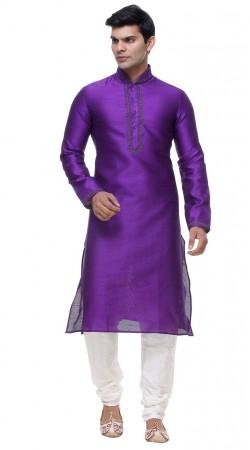 Traditional Purple Silk Kurta With White Churidar Bottom GR139001