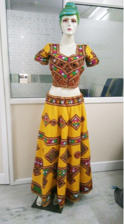 Traditional Yellow Cotton Mirror And Thread Work Navratri Lehenga Choli 2BR649958