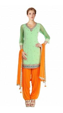 Trendy Aquamarine And Orange Net Plus Size Salwar Kameez SUMS612