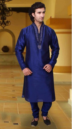 Trendy Blue Art Silk Neck Embroidered Kurta Pyjama DTKP1533