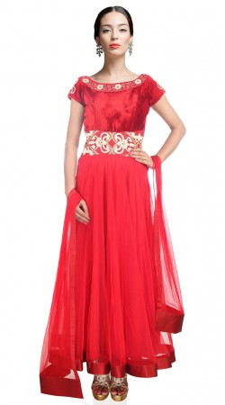 Trendy Bright Red Net Ankle Length Anarkali Suit With Dupatta SUUDS26904