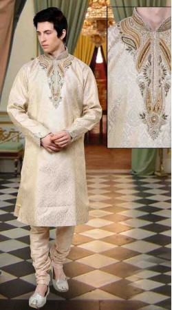 Trendy Cream Banarsi Brocade And Art Dupion Silk Kurta Payjama DTKP11238